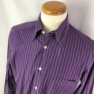 Ermenegildo Zegna purple striped dress shirt Sz L